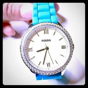 Fossil watch blue silicone strap